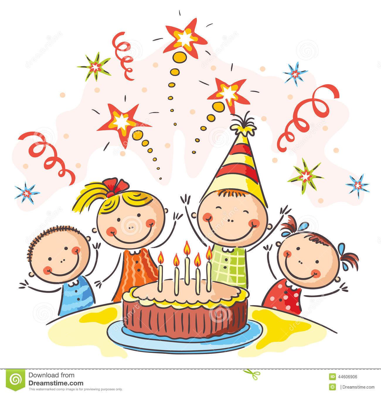 Geburtstagsfeier  Scherzt Geburtstagsfeier Stock Illustrationen Vektors