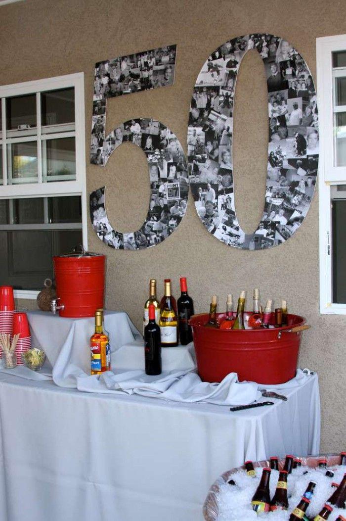 Geburtstagsfeier Ideen Für 14 Jährige  Eine große 50 aus Fotos basteln als Deko zum 50sten