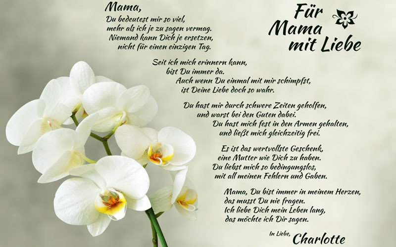 Geburtstagsgedichte Für Mama  Mutterliebe personalisiertes Bild tolle Geschenkidee