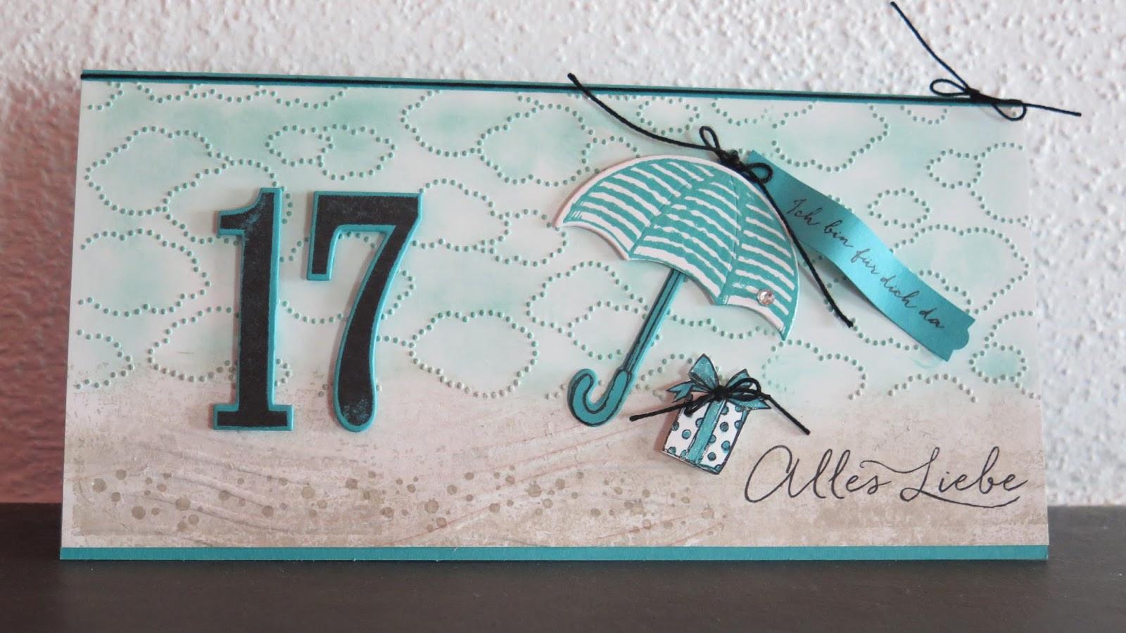 Geburtstagsgedichte Zum 17 Geburtstag  Stempelnixe Karte und Geschenk zum 17 Geburtstag unseres