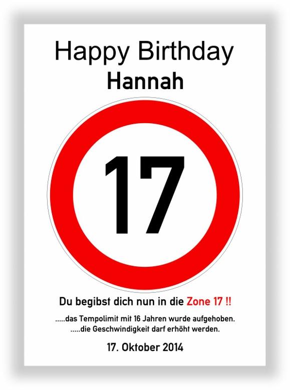 Geburtstagsgedichte Zum 17 Geburtstag  Verkehrszeichen Bild 17 Geburtstag Deko Geschenk