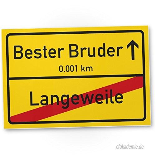 Geburtstagsgeschenk Bruder  Bester Bruder Ortsschild 30 x 20 cm Schild Türschild