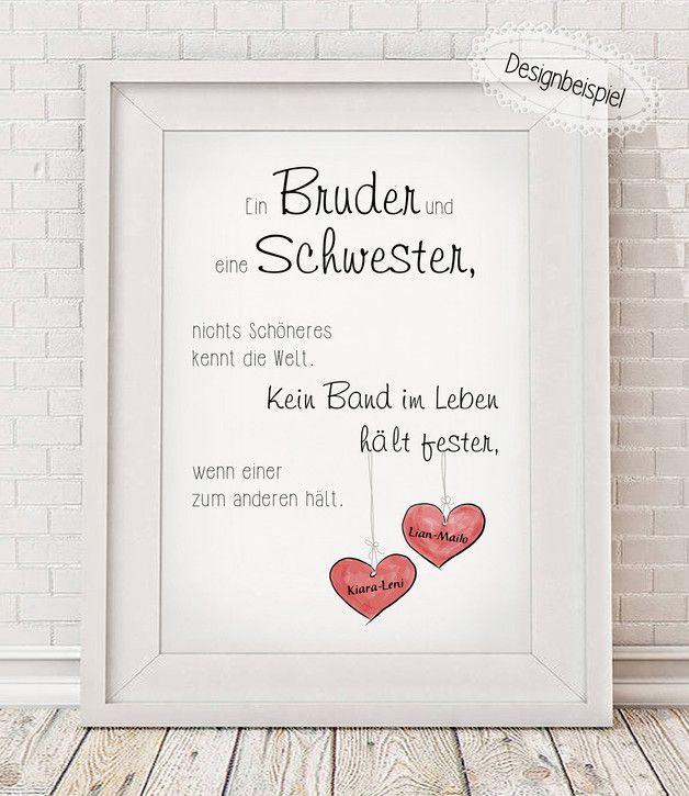 """Geburtstagsgeschenk Für Bruder  """"BRUDER & SCHWESTER"""" Bitte beim Kauf alle relevanten"""