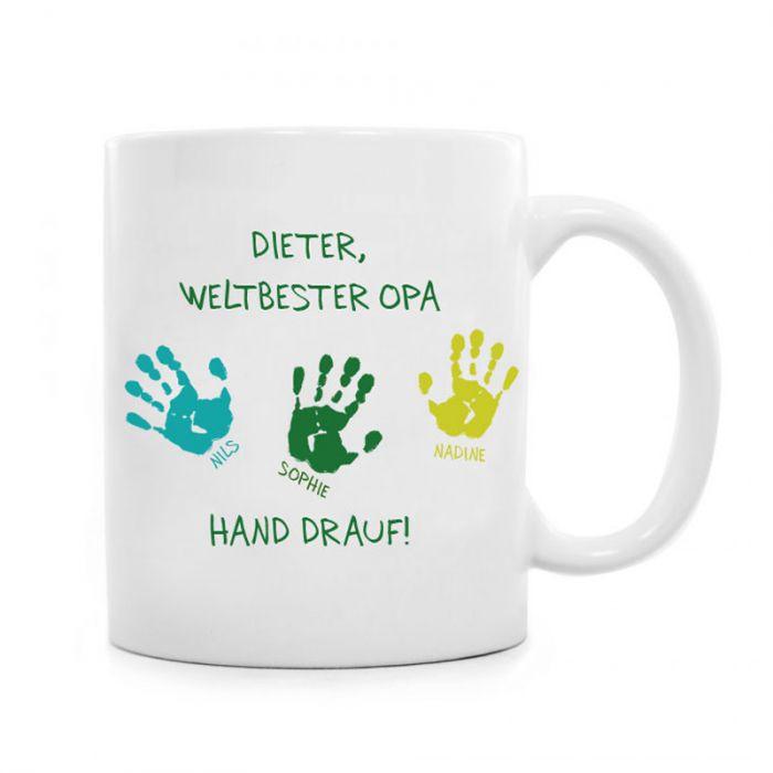 Geburtstagsgeschenk Für Opa  Tasse für Opa Hand drauf mit Deinen Wunschnamen