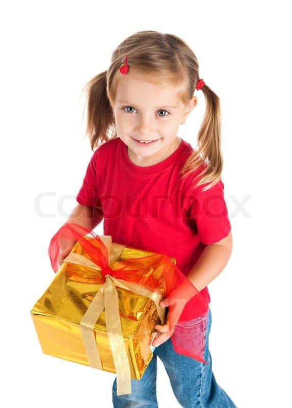 Geburtstagsgeschenk Mädchen 4 Jahre  Vier Jahre altes Mädchen wih der Stockfoto