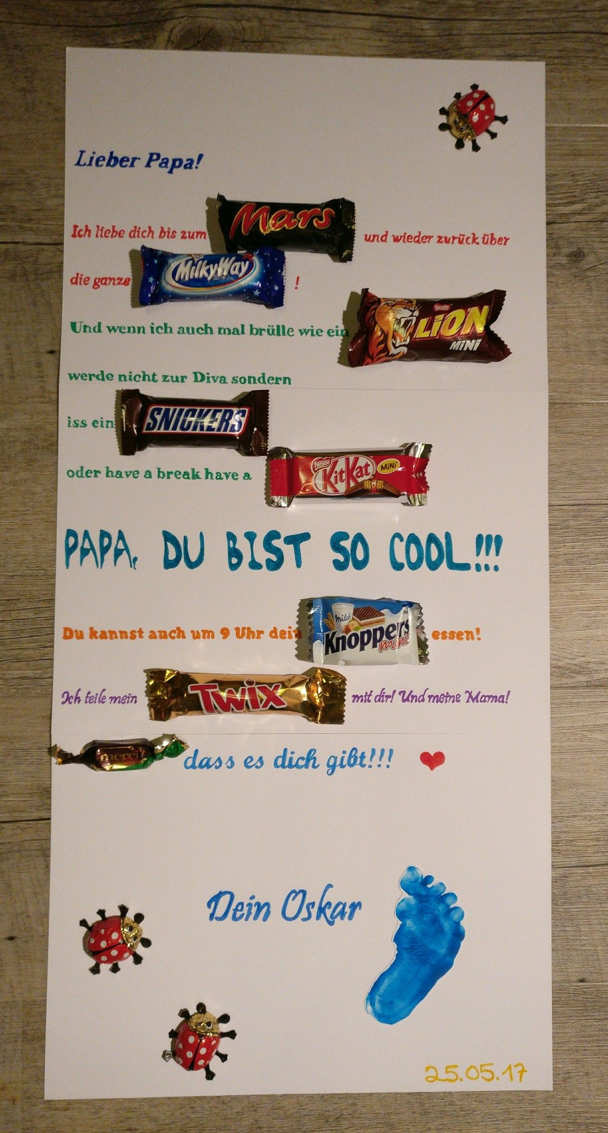 Geburtstagsgeschenk Papa  Vatertag Mars Milky Way Lion Snickers Kit Kat Knoppers