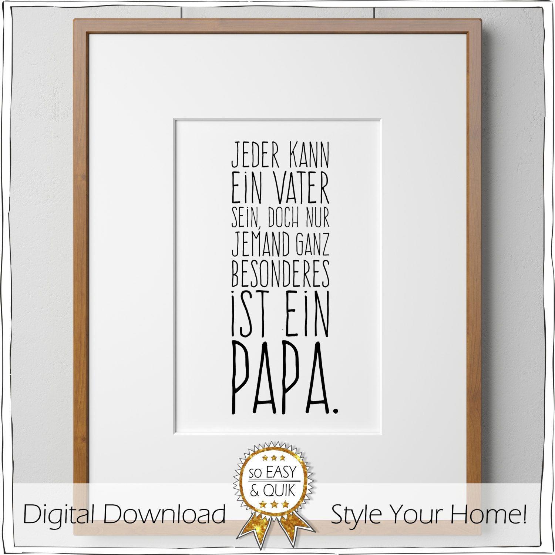 Geburtstagsgeschenk Papa  Papa Vater Spruch Printable mit Geschenkanhänger von