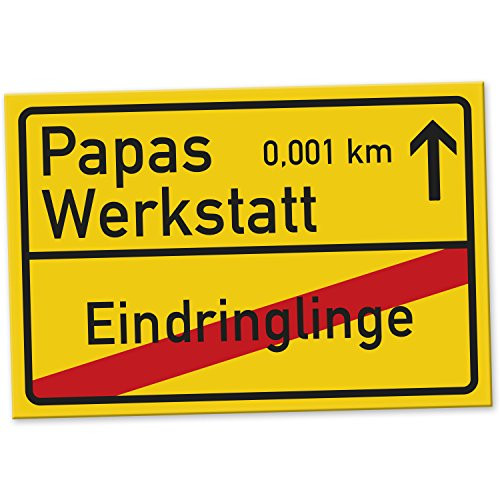 Geburtstagsgeschenk Papa  Papas Werkstatt Ortsschild 30 x 20 cm Schild Trschild