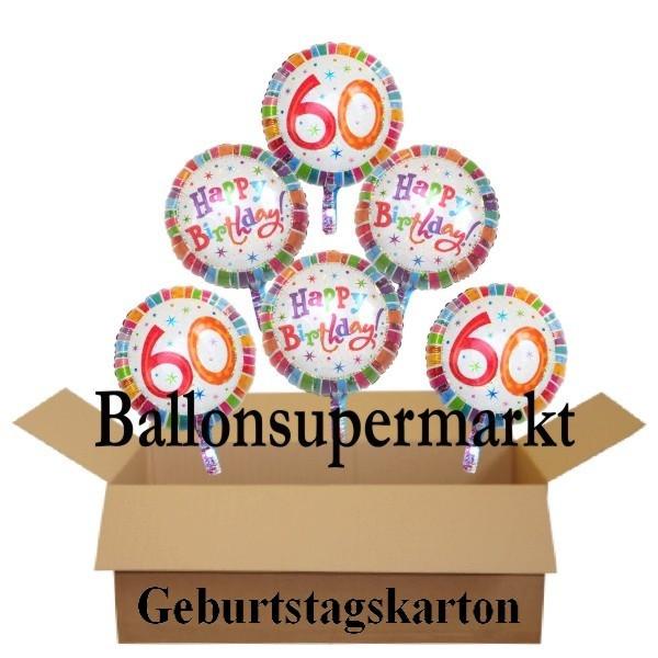 Geburtstagsgeschenk Zum 60  Geburtstagsgeschenk Luftballons mit Helium im Karton