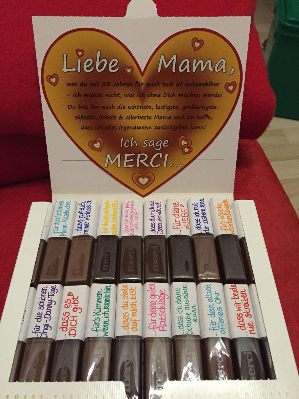Geburtstagsgeschenke Für Mama Diy  Muttertagsgeschenk Merci dass es dich gibt DIY Mama