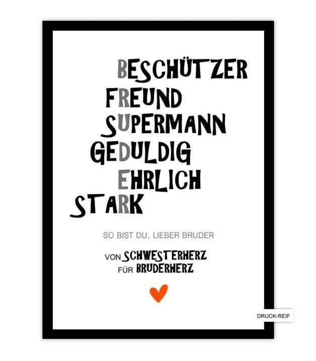 Geburtstagsgeschenke Für Schwester  Schöner KUNSTDRUCK Schwester und tolles Geschenk für
