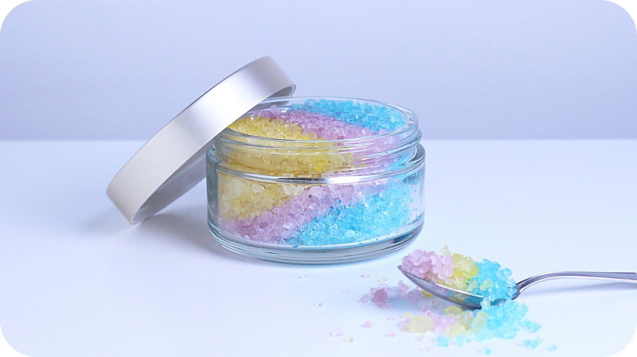 Geburtstagsgeschenke Selbstgemacht  Einhorn Badesalz selber machen