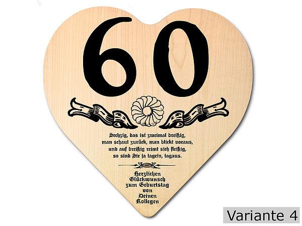 Geburtstagsgeschenke Zum 60  Geschenk zum 60 Geburtstag Herz Holzschild mit