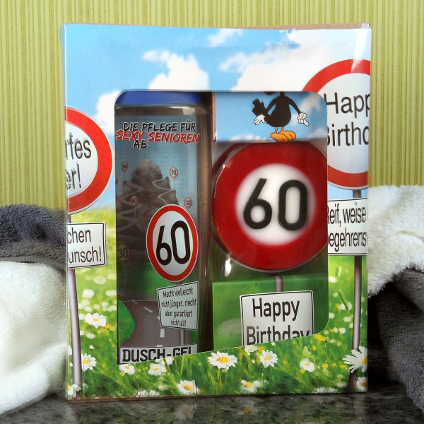Geburtstagsgeschenke Zum 60  lustiges Geschenkset Badset Verkehrszeichen zum 60