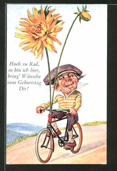 Geburtstagsglückwünsche Bilder  AK Karikatur eines Fahrradfahrers Geburtstagsglückwünsche