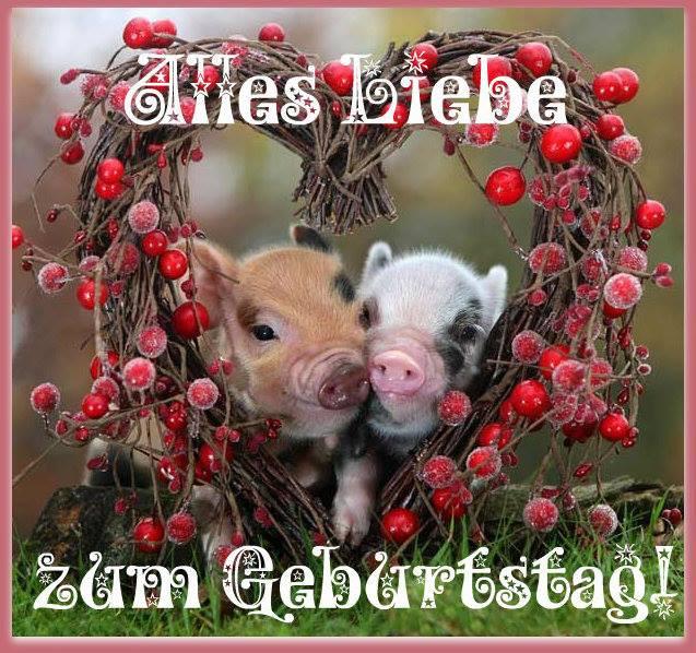 Geburtstagsglückwünsche Tiere  Zwei Schweine in einem Herzen Alles Liebe zum Geburtstag