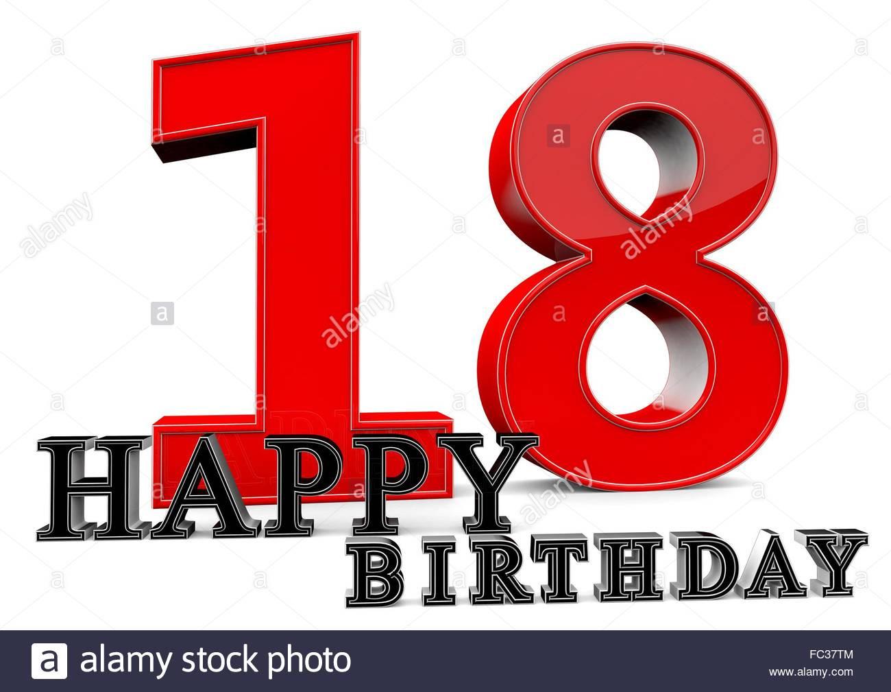 Geburtstagsideen Zum 18  Happy Birthday zum 18 Geburtstag Stock