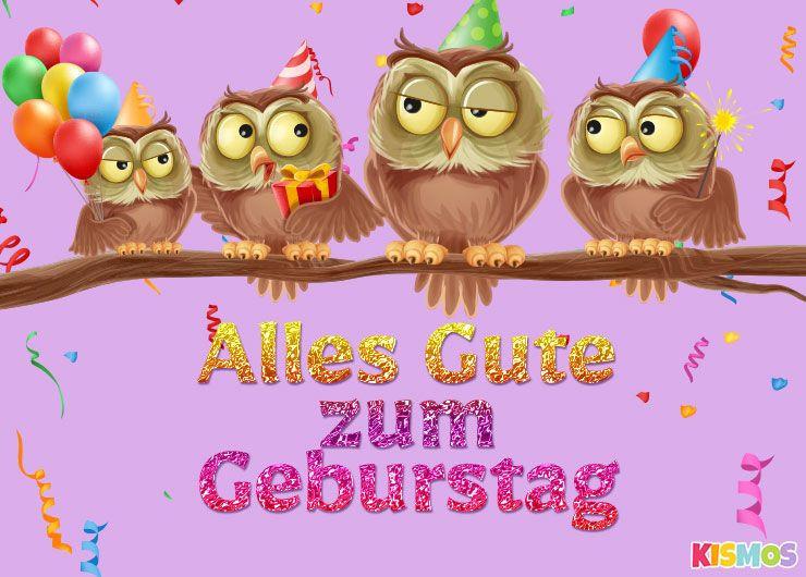 Geburtstagskarten Gratis  Geburtstagskarte niedliche Eulen herunterladen ausdrucken