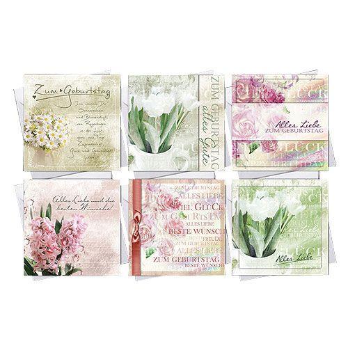 Geburtstagskarten Kaufen  Geburtstagskarten mit Umschlag 10 5cm x 10 5cm 6St
