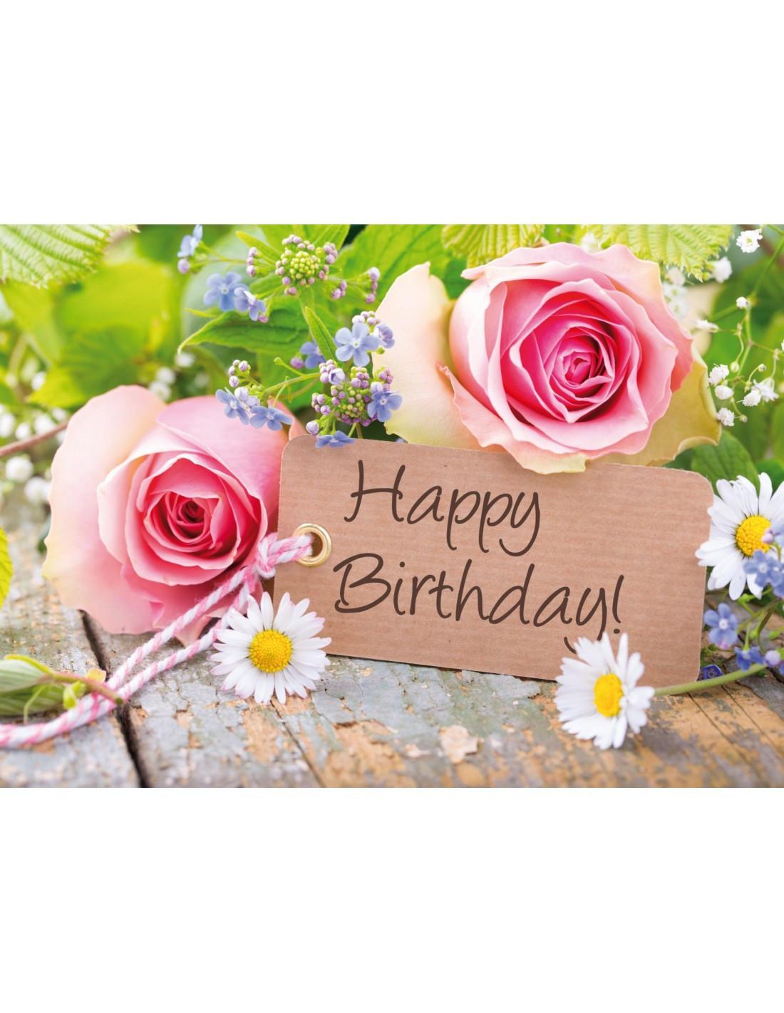 Geburtstagskarten Kaufen  Geburtstagskarte Rosen mit Gänseblümchen