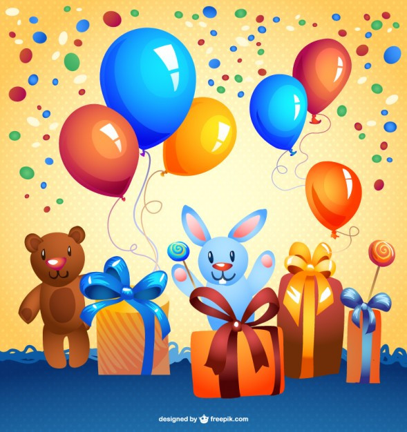 Geburtstagskarten Kostenlos Herunterladen  Kostenlos cartoon vektor geburtstagskarte
