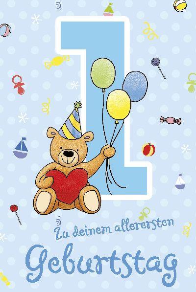 Geburtstagskarten Mit Musik  Depesche Geburtstagskarte 1 Geburtstag mit Musik