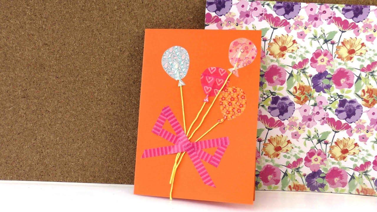 Geburtstagskarten Selber Drucken  Geburtstagskarte mit Washi Tape selber machen in 5 Minuten