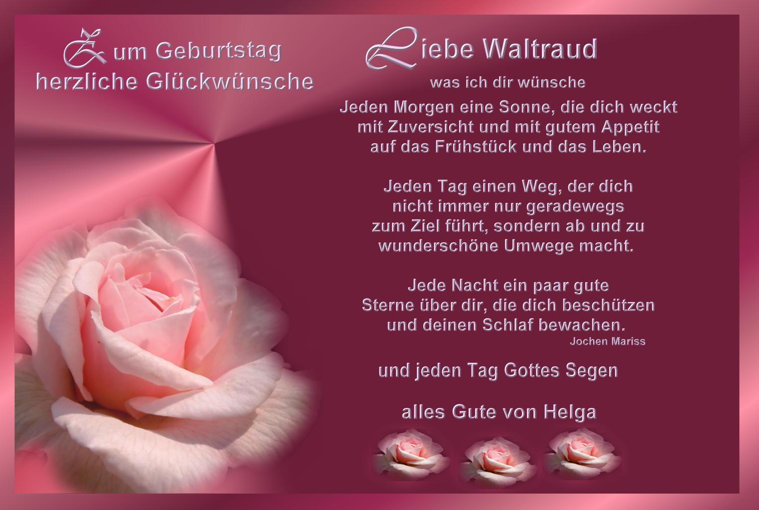 Geburtstagskarten Text  Alles Gute für Waltraud Foto & Bild