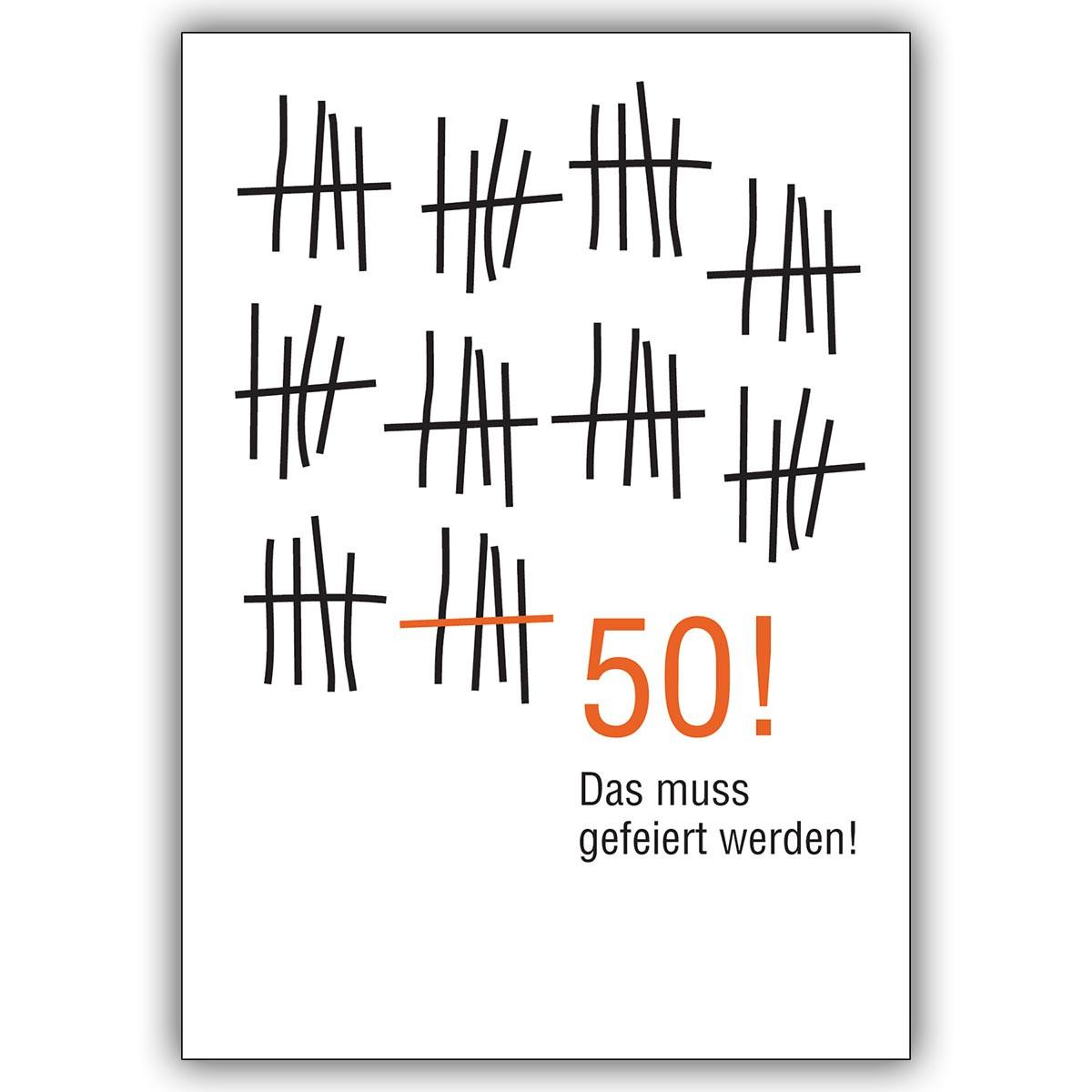 Geburtstagskarten Zum 50  Geburtstagskarte zum 50 Geburtstag im Strich Listen Look