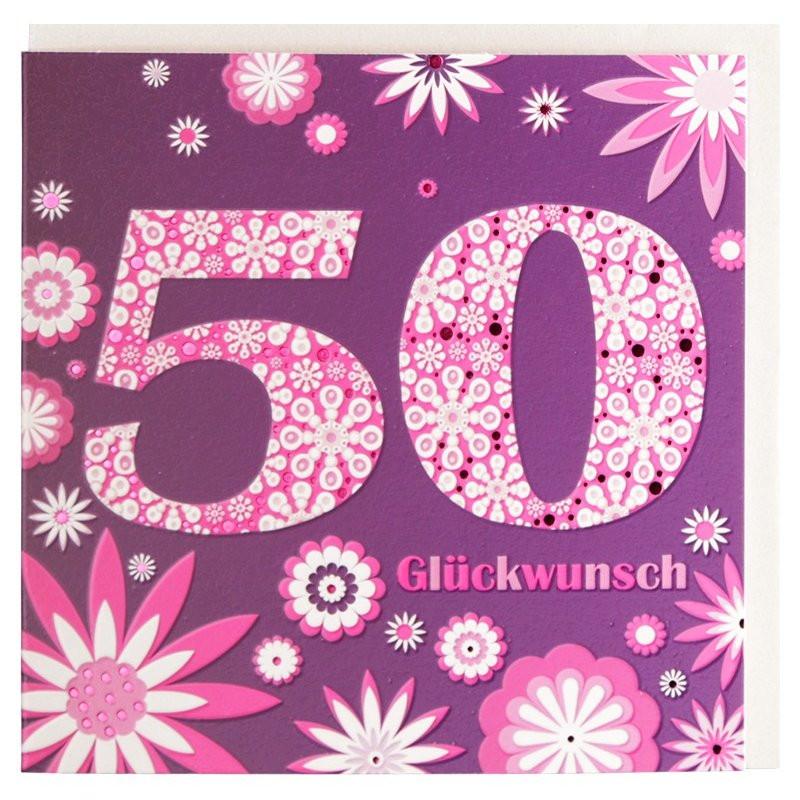 Geburtstagskarten Zum 50  Geburtstagskarte zum 50 Geburtstag lila pink