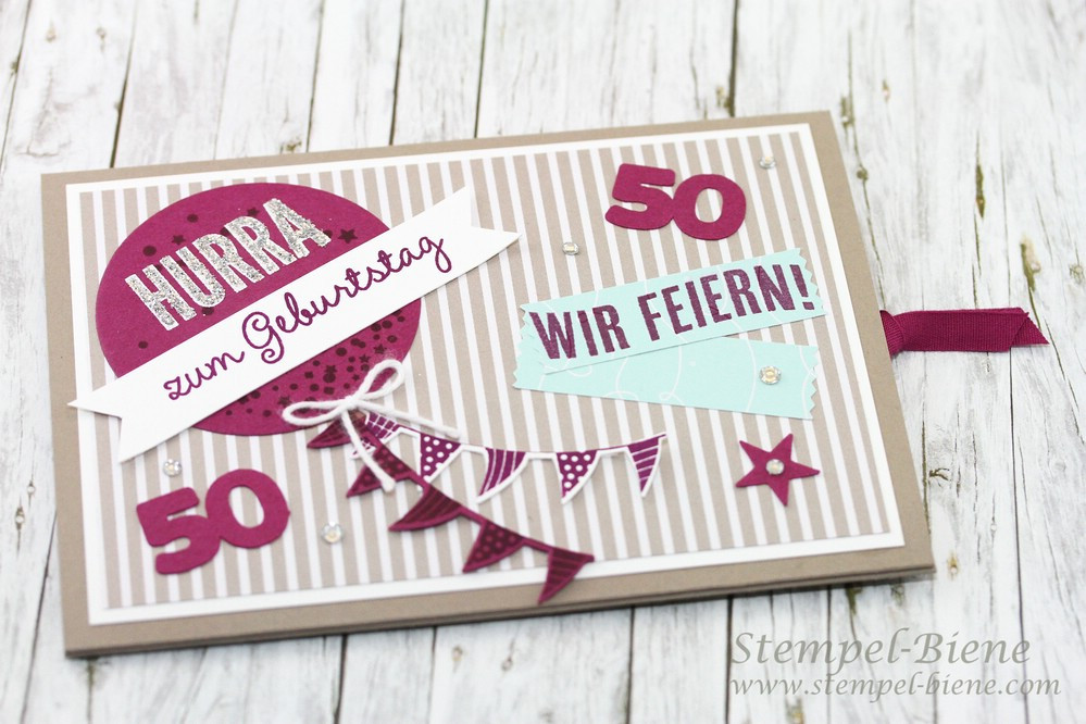 Geburtstagskarten Zum 50  Stempel Biene Ziehkarte zum 50 Geburtstag mit Anleitung