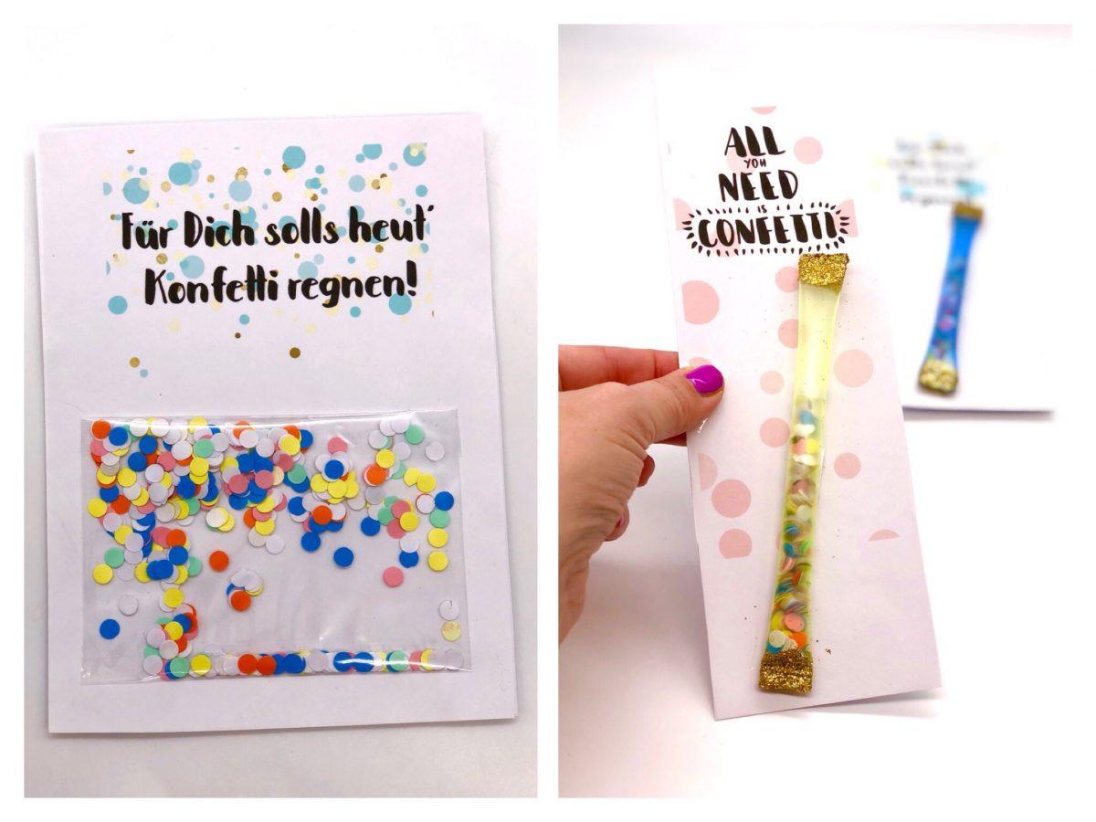 Geburtstagskarten Zum Ausdrucken Kostenlos  Geburtstagskarte zum Ausdrucken selber machen mit Konfetti