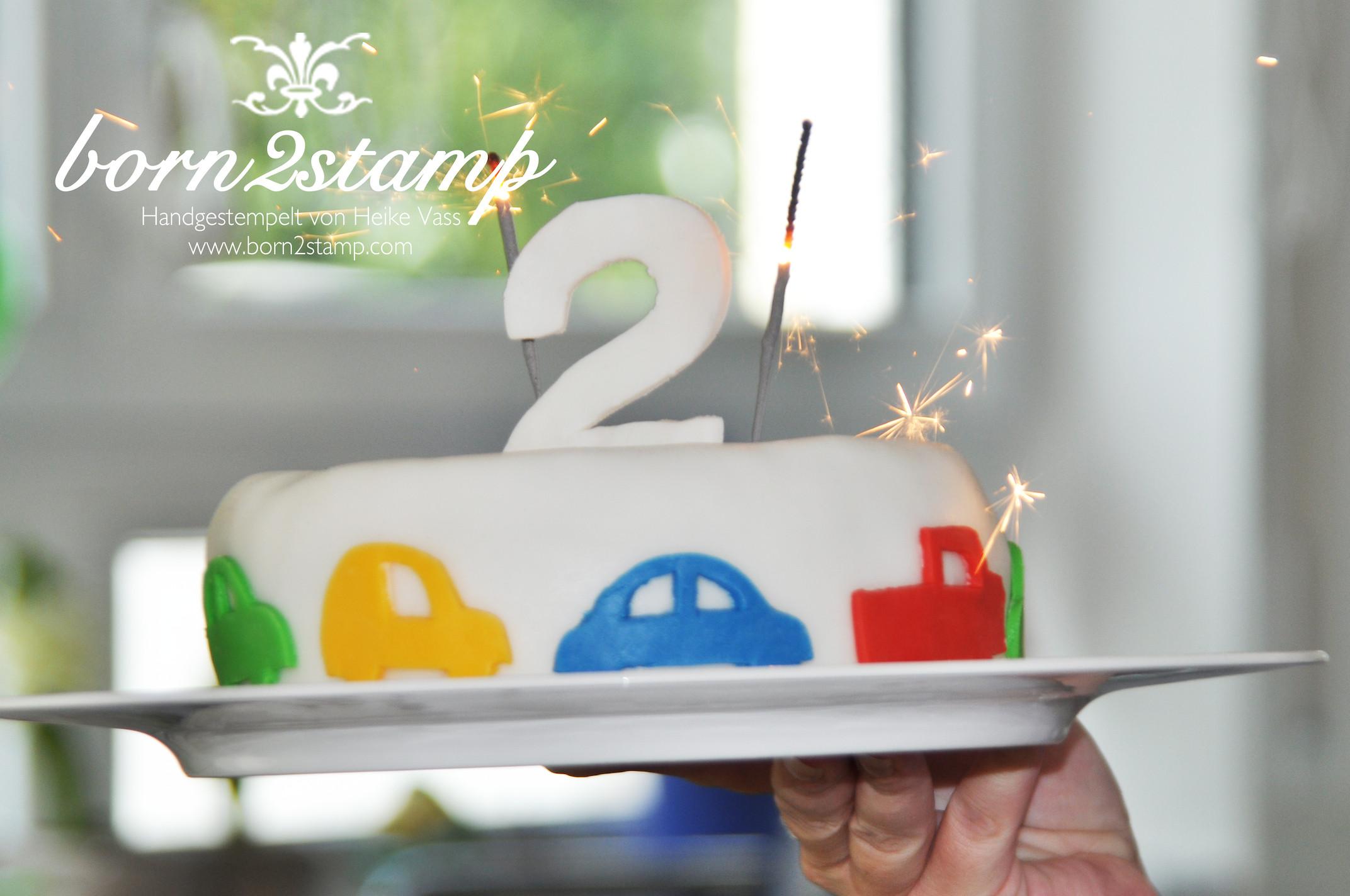 Geburtstagskuchen Auto  Auto Party Geburtstagskuchen born2stamp Heike Vass