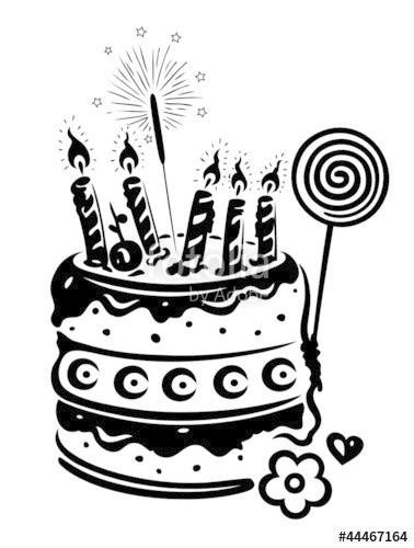 """Geburtstagskuchen Clipart Schwarz Weiß  """"Geburtstag Torte Kuchen birthday vector schwarz"""