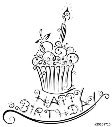 """Geburtstagskuchen Clipart Schwarz Weiß  """"Muffin Geburtstag happy birthday vector schwarz"""