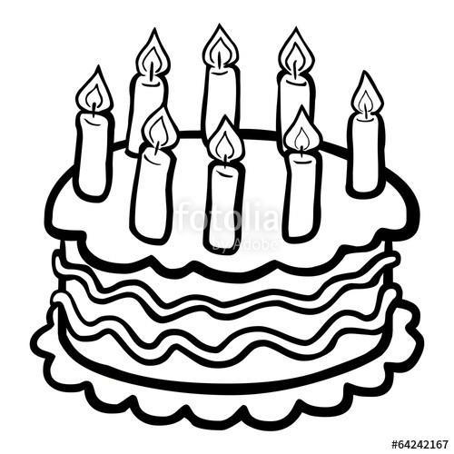 """Geburtstagskuchen Clipart Schwarz Weiß  """"Schwarz weiße iczeichnung eines Geburtstagskuchens"""
