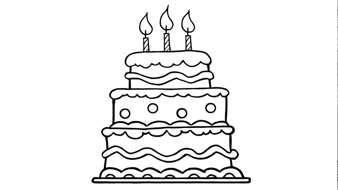 Geburtstagskuchen Clipart Schwarz Weiß  Wie zeichnet man eine schöne Geburtstagstorte