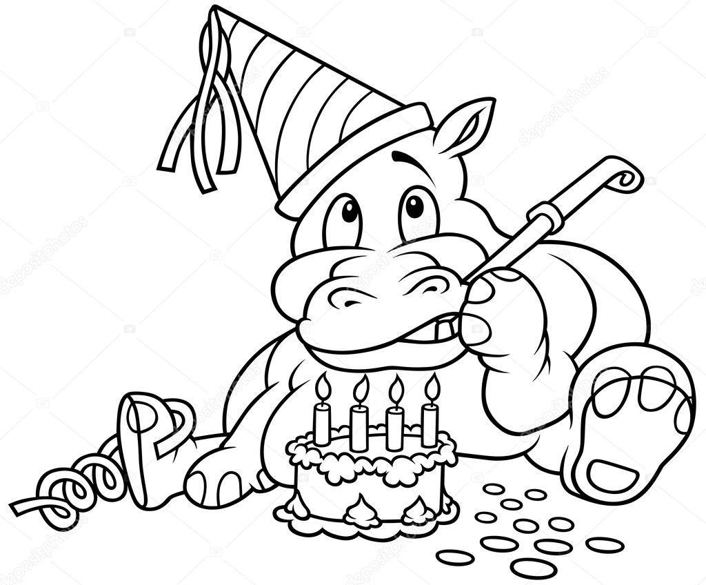 Geburtstagskuchen Clipart Schwarz Weiß  河马和蛋糕 — 图库矢量图像© dero2010
