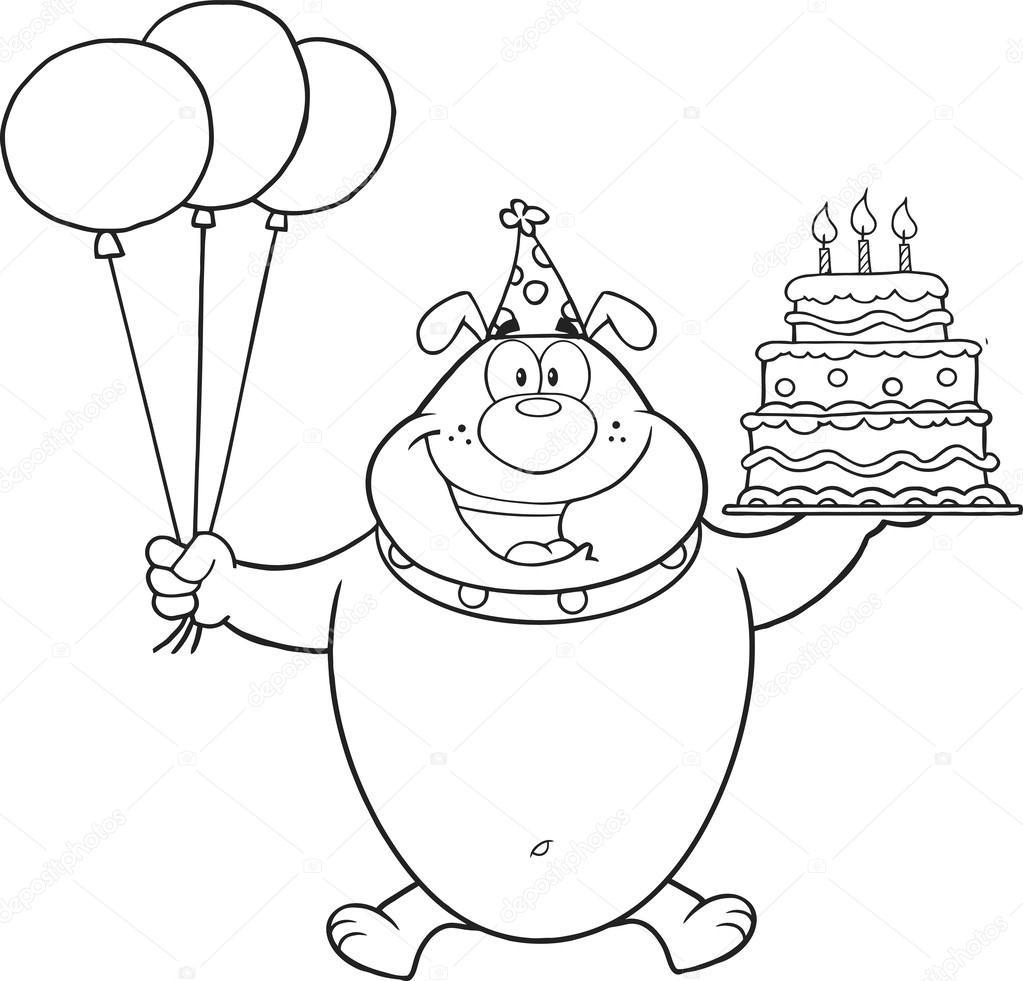 Geburtstagskuchen Clipart Schwarz Weiß  schwarz weiß Geburtstag Bulldog Charakter halten einen
