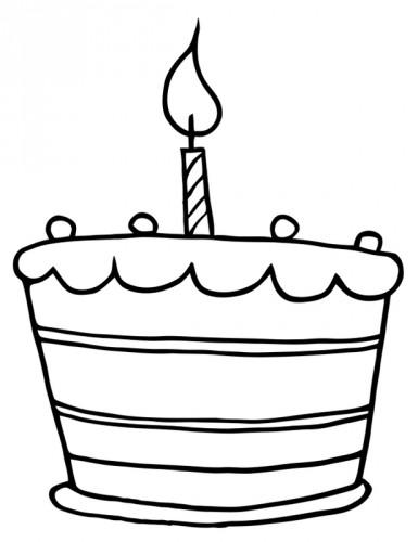 Geburtstagskuchen Clipart Schwarz Weiß  Kostenlose Malvorlage Geburtstag Geburtstagstorte mit