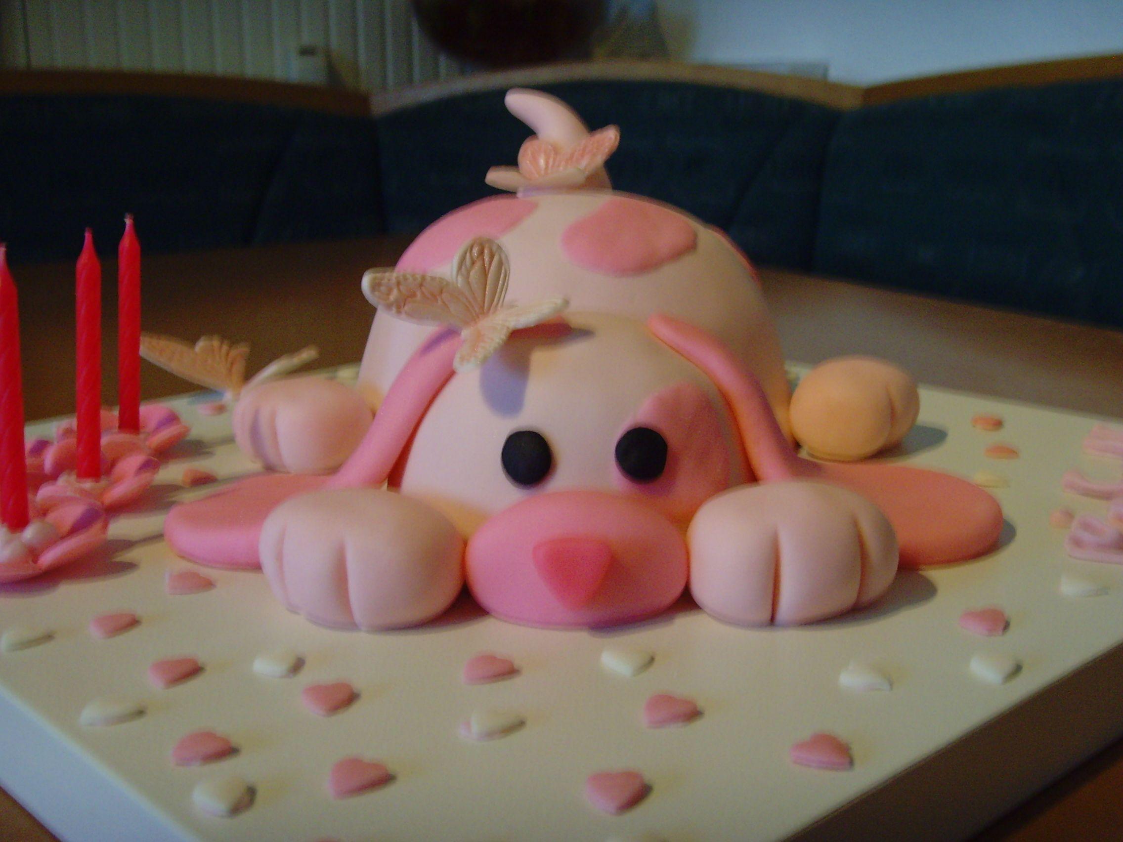 Geburtstagskuchen Hund  Geburtstag Kinder Ein rosa Hund für meine süsse