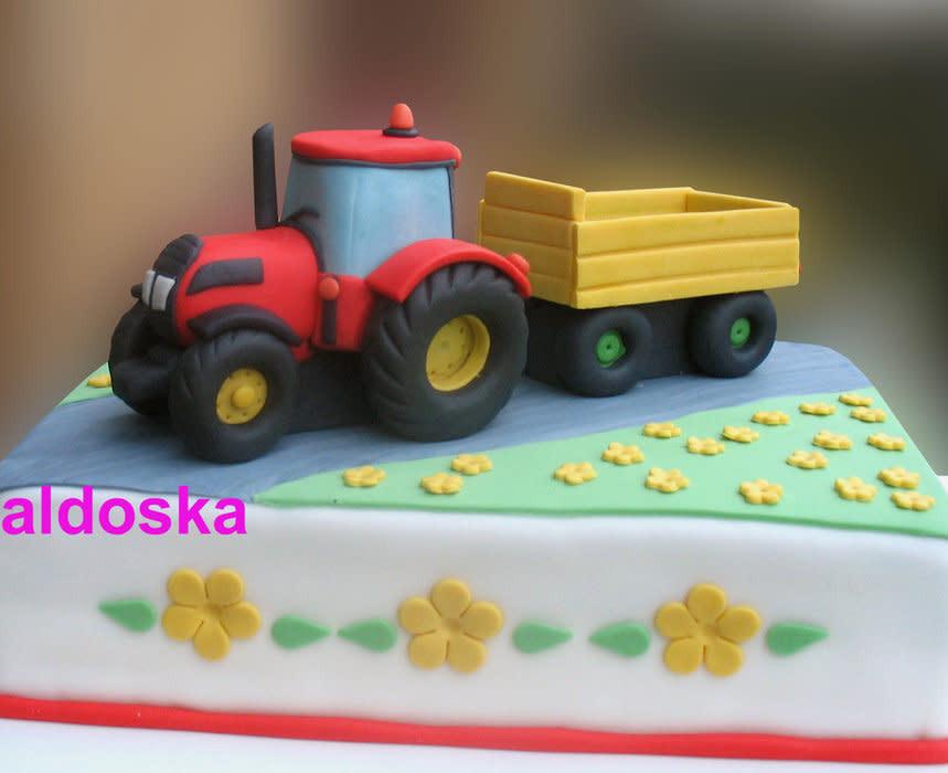 Geburtstagskuchen Traktor  Tractor with flatbed cake by Alena CakesDecor