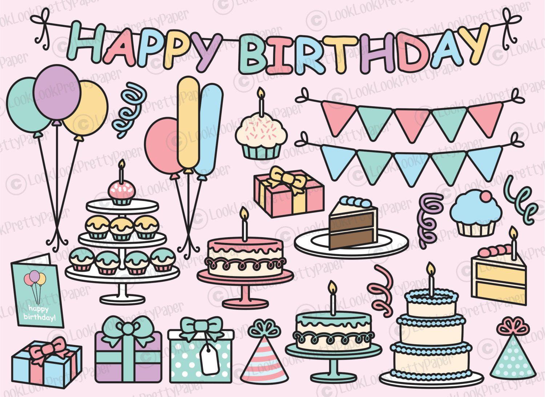 Geburtstagsparty Clipart  Premium Vector Clipart Kawaii Birthday Cute Birthday