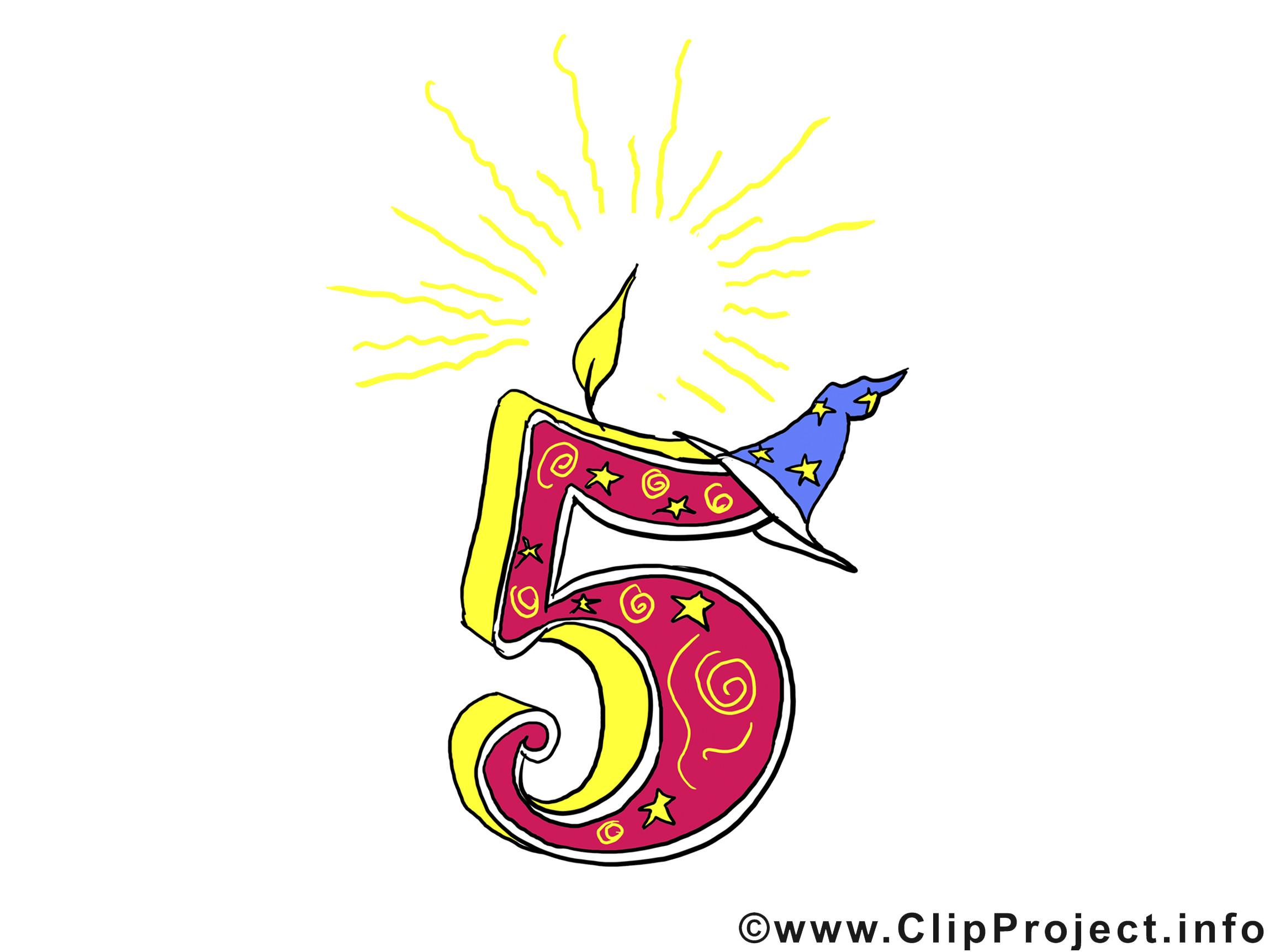 Geburtstagsparty Clipart  Geburtstag 5 Jahre Clipart Bild für Einladung