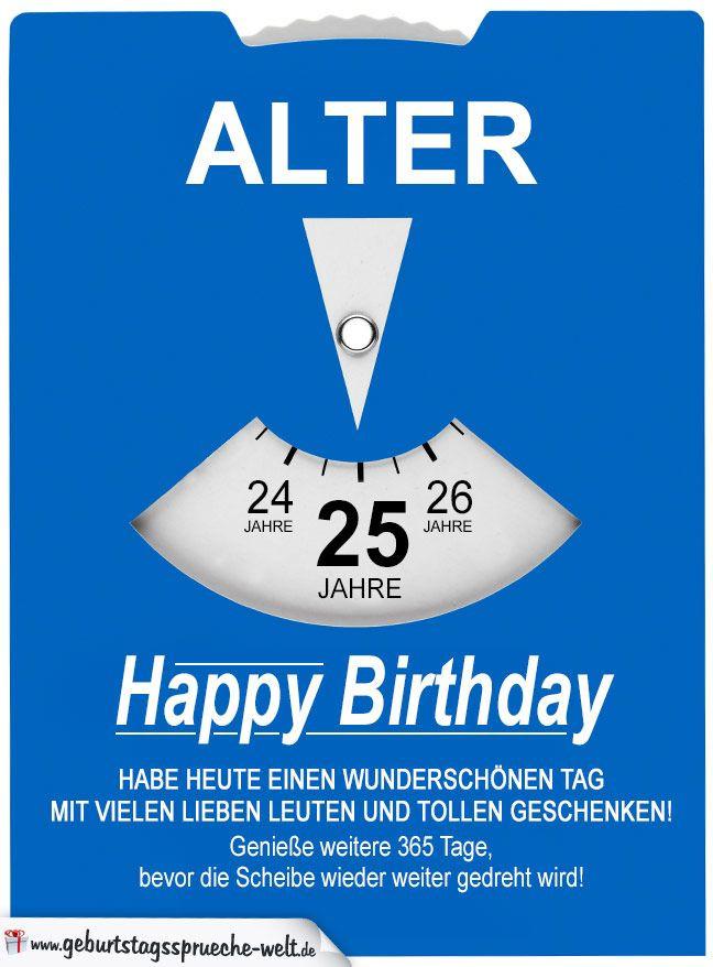 Geburtstagssprüche 25  Geburtstagskarte als Parkscheibe zum 25 Geburtstag
