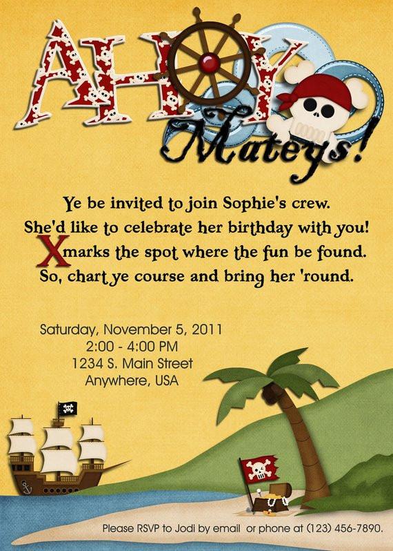 Geburtstagssprüche Einladung  Einladung Geburtstag Piraten