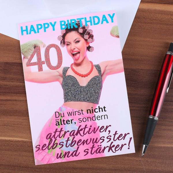 Geburtstagssprüche Für Frauen 40  Glitzernde Geburtstagskarte für Frau zum 40