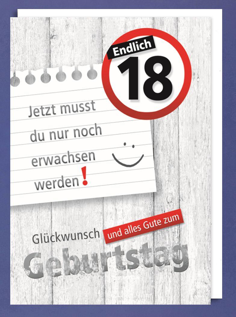 Geburtstagssprüche Zum 18 Geburtstag  Riesen 18 Geburtstag Karte Grußkarte Erwachsenwerden A4
