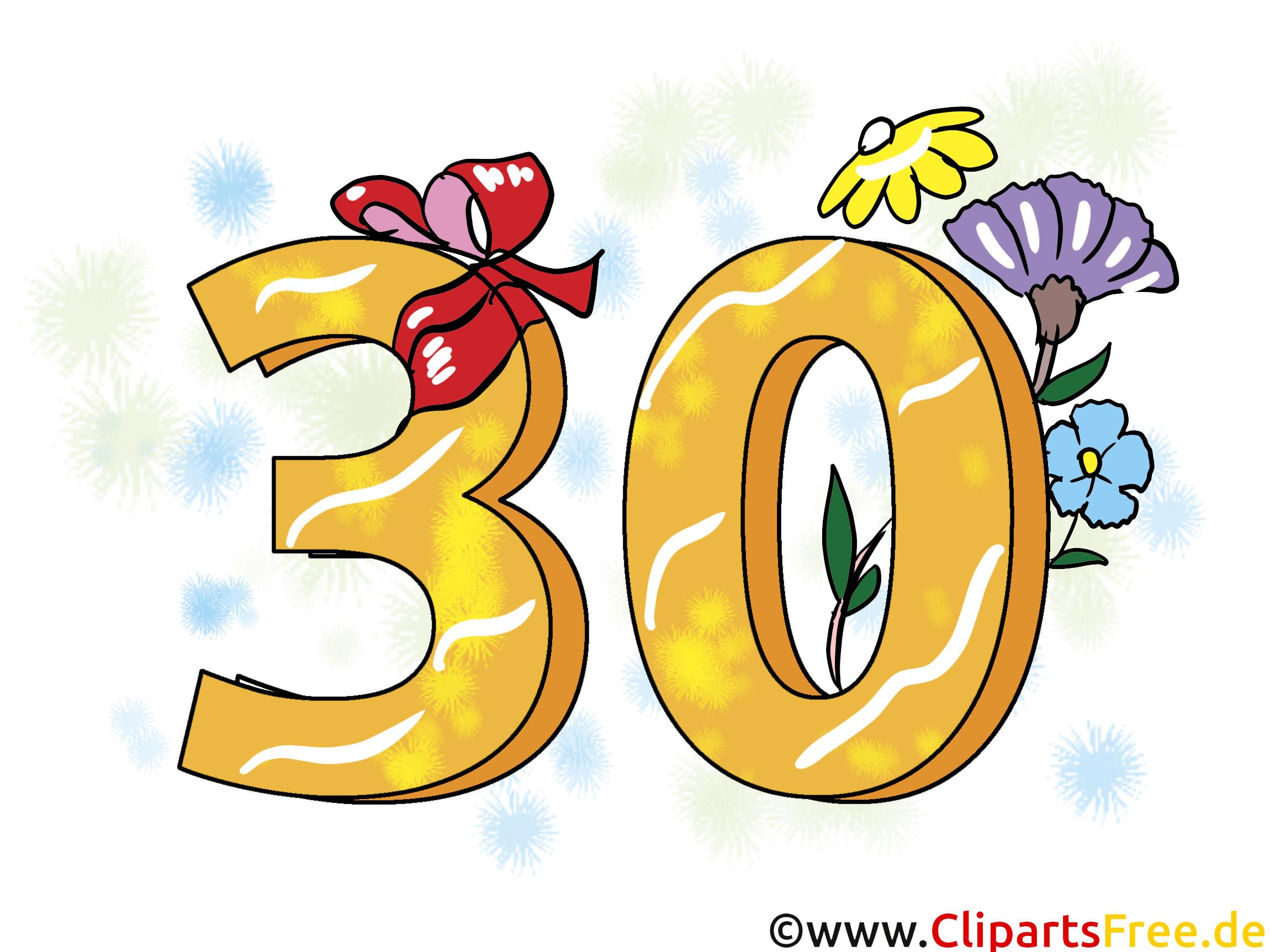 Geburtstagssprüche Zum 30.  Geburtstagssprüche 30 Jahre Clipart Grusskarte