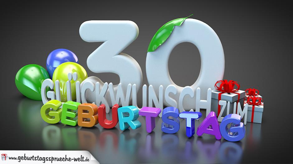 Geburtstagssprüche Zum 30 Frau  Edle Geburtstagskarte mit bunten 3D Buchstaben zum 30